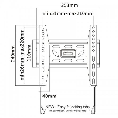 TV Bracket to fit LG 24MT48S Black Flat Slim Fitting TV